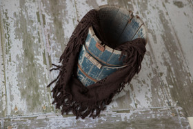 Brown Fringe Infinity Scarf