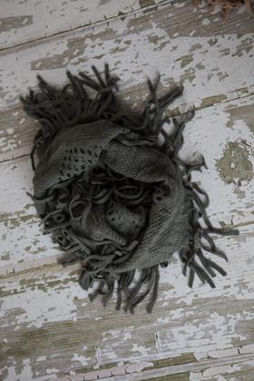 Grey Fringe Infinity Scarf