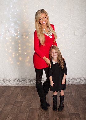Mommy Red 3/4 Sleeve Seamless Dress