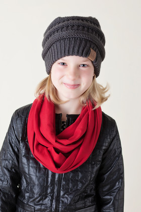 Girls Red Fabric Infinity Scarf