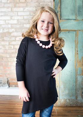 Girls 3/4 Sleeve Licorice Tunic Black