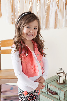 Girls Fashion Vest With Lace Salmon