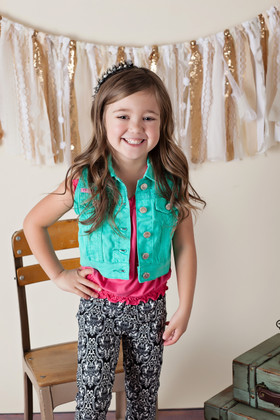 Girls Fashion Vest With Lace Mint CLEARANCE
