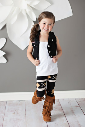Girls Tan Arrow Legging