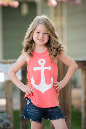 Girls Bow Back Anchor Tank Coral
