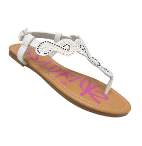 Girls Rhinestone Sandal White CLEARANCE