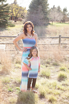 Mommy Coral and Navy Tie Dye Maxi CLEARANCE
