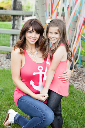 Mommy Racerback Anchor Tank Coral