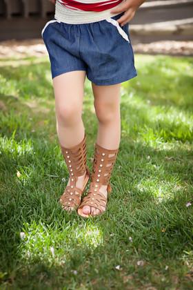Girls Chambray Crochet Shorts