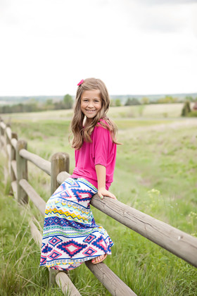 Girls MultiColored Aztec Maxi Skirt