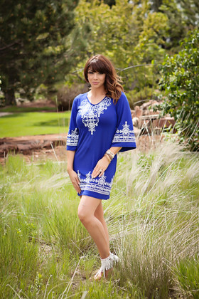Mommy Royal Blue Embellished Tunic Dress CLEARANCE