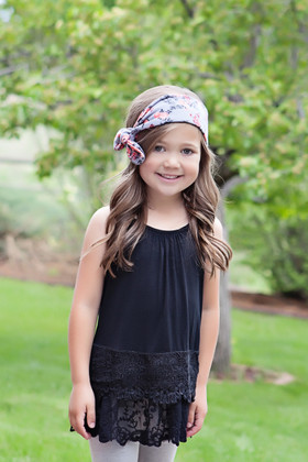 Girls Lace Tiered Cami Dress Black