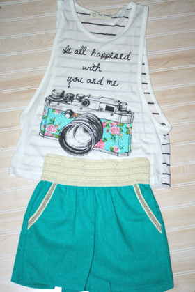 Girls Summer Fun Linen Short Green CLEARANCE