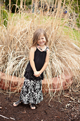 Girls Damask Black/White Maxi Skirt CLEARANCE