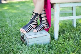 Girls Black Sparkle Gladiator Sandal CLEARANCE
