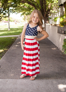 Girls Red, White, and Polka Dot Maxi Dress