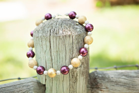 Girls Vintage Gold and Cranberry Bubble Necklace