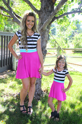 Mommy  Shorty Double the Fun Dress Fuchsia CLEARANCE