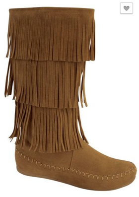 Mommy Moccasin Fringe Boot Tan