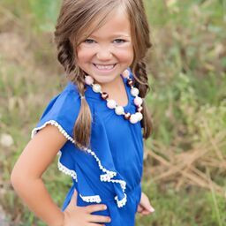Girls Butterfly Sleeve Top Royal