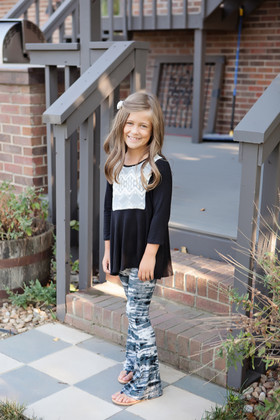 Girls Grey Tie-Dye Flare Pants CLEARANCE