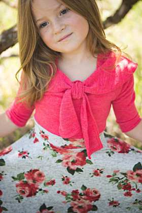 Girls Retro Floral Dress Coral CLEARANCE