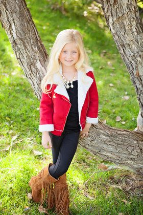 Girls Red Suede Coat CLEARANCE