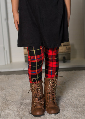 Girls Red Plaid Legging