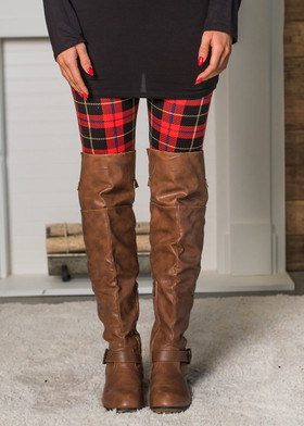 Mommy Red Plaid Legging
