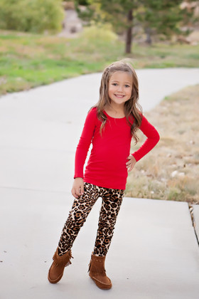 Girls Leopard Fur Lined Leggings