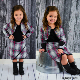 Girls 3 Piece Skirt Set- Black and Pink CLEARANCE