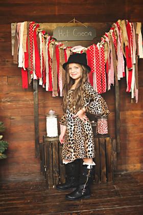 Girls Leopard Print Bell Sleeve Dress