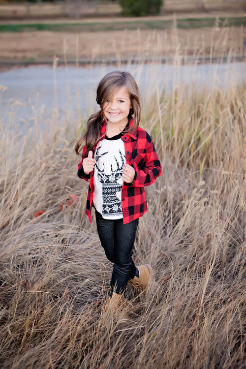 Girls Plaid Flannel Top Black Red Ryleigh Rue Clothing