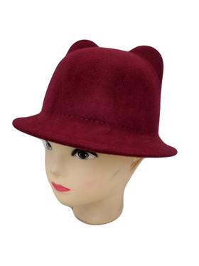Girls Wool Cat Hat Burgundy CLEARANCE
