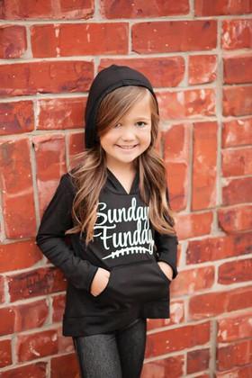 Girls Sunday Funday Hoodie Black