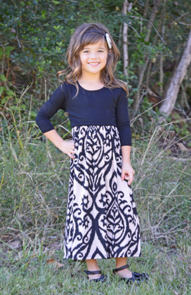 Girls 3/4 Sleeve Damask Maxi Dress Black/Taupe