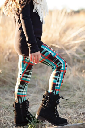 Girls Fun Plaid Leggings Black And Teal- Fleece Lined CLEARANCE