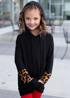 Girls Leopard Cuff Hoodie Black CLEARANCE