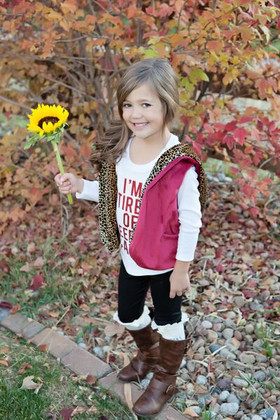 Girls Velvet Fleece Reversible Vest Cheetah/Burgundy CLEARANCE