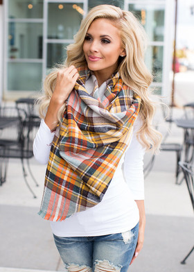 Mommy Perfect for Fall Oversized Blanket Scarf Gray