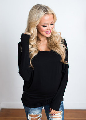 Mommy Long Sleeved Dolman Top Black