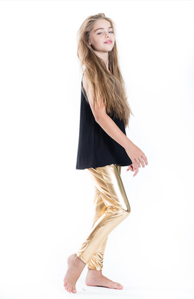 Girls Foil Leggings- Gold
