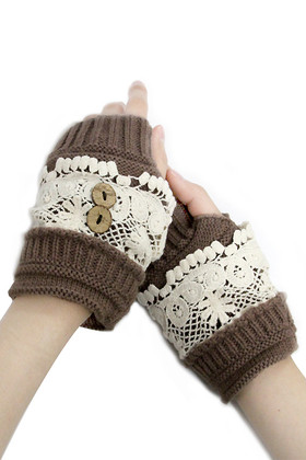 Floral Crocheted Lace Hand Warmers- Brown