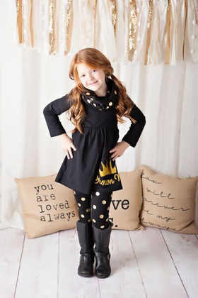 Girls Crown Me 3 Piece Set- Black and Gold CLEARANCE