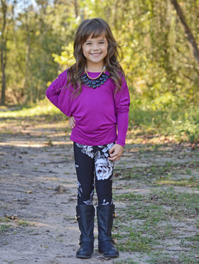 Girls Long Sleeved Dolman Top- Purple