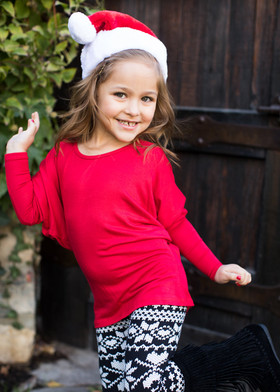 (Cyber Monday) Girls Long Sleeved Dolman Top Red