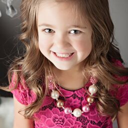 Girls Pink, Ivory, & Gold Sparkle Bubble Necklace