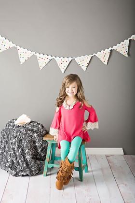 Girls Open Shoulder Crochet Sleeve Top- Coral