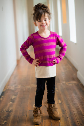 Girls Fuchsia and Gold Stripes 2 Piece Top