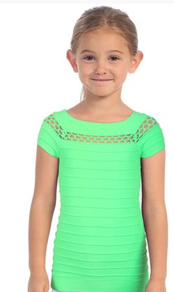 Girls Dance Short Sleeve Top- Neon Green